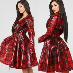 Fashionova Red Plaid Swing Trench Rain Coat 2x